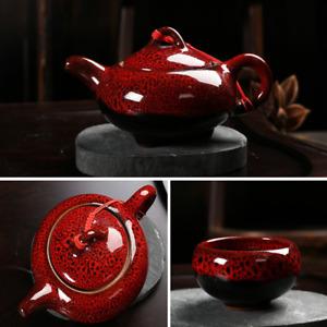 7pcs/set Tea Cups Tea Pot Creative KungFu Tea Service Ceramic Red Glaze Tea Set