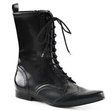 Brogue 10 Black Nappa Vegan Leather Men's Lace Up Pointy Toe Boot Size US 11