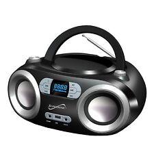 SUPERSONIC SC-509BT-BLK Portable Bluetooth FM Radio MP3/CD Player USB AUX AC/DC