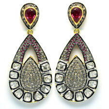 Ruby Silver Danglers Earring Jewelry Victorian 3.15cts Rose Antique Cut Diamond