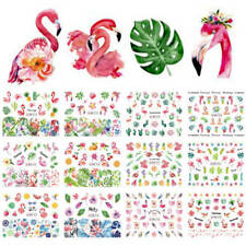 Nail Art Water Transfer Sticker Flamingo Bird Flower Green Leaves Floral Decals