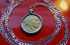 "Gold Plated Buffalo Nickel Bezel on a 28"" 925 Sterling Silver Chain"