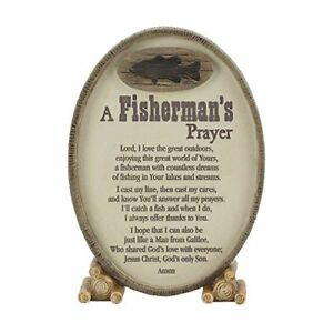 A Fisherman's Prayer Oval Shaped Brown 6 x 3.5 Resin Stone Table Top Sign Plaque