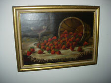 19thC. VICTORIAN OIL / CANVAS PAINTING STILL LIFE WITH STRAWBERRIES & WINE GLASS