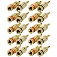 10 Pairs 20 Pcs Banana Male Plug Audio Speaker Wire Connector Closed Screw Gold