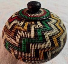 Wounaan Embera Indian Lg. Geometric Woven Basket with Top-Panama 17091402L