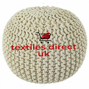 KNITTED POUFFE CHUNKY LARGE FOOT STOOL CUSHION 50CM MOROCCAN 100% COTTON