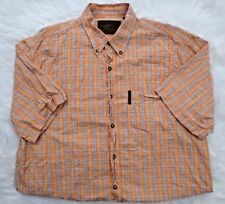 North River Outfitters Shirt Large Peach White Button Down Short Sleeve Mens