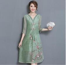 Womens V neck Linen Slik Blend Chinese Qipao Embroidery Flower Slim fit Dresses