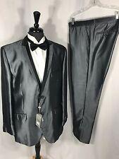 Tazio Mens Super 120 Wool Gray Black Shinny Premium Tuxedo Suit 46L Slim Fit