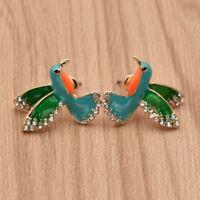 Women Hummingbird Stud Earrings Cute Animal Bird Ear Stud Jewelry 1 Pair