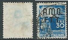 1947-48 TRIESTE A USATO DEMOCRATICA 2 RIGHE 30 LIRE FILIGRANA LETTERA - L1