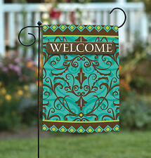 New Toland - Damask Welcome - Blue Brown Classic Scroll Design Garden Flag