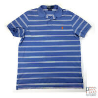 Polo Ralph Lauren Mens XL Short Sleeve Pima Cotton Polo Shirt Striped Blue