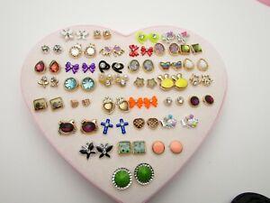 Heart Pearl Fashion Earrings 36 Studs Crystal Stars Gems Various Hypoallergenic