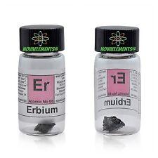 Erbium metal element 68 Er 1 gram 99,95% sample in labeled glass vial
