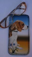 BEAGLE HOUND DOG NEOPRENE GLASS CASE POUCH DESIGN PRINT SANDRA COEN ARTIST