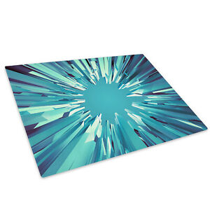 Teal Blue White Cool Glass Chopping Board Kitchen Worktop Saver Protector