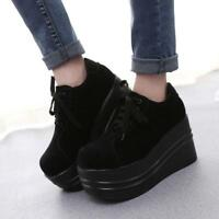 Women's New Gothic Punk Lace Up Round Toe Slouch Platform Creeper Shoes Sneaker