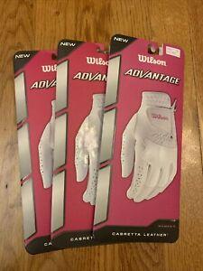 3x -Wilson Advantage White Cabretta Leather Women's Left Hand Golf Glove Large