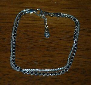 "SILPADA - B2964 - Faceted Black Cubic Zirconia Strlng Slvr ""Skyline"" Bracelet"