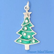 ENAMEL GREEN CHRISTMAS TREE .925 Solid Sterling Silver Charm Pendant MADE IN USA