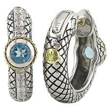 18kt & Silver Blue Topaz & White Topaz Hoop Earrings w/ Locking Back ACE198-BTWT