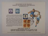 BEP souvenir card B 62 1983 Phil Show 1932 Olympics Visitors cancel