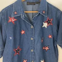 New Directions Women L Denim Shirt Embroidered Stars Short Sleeve July 4 Casual