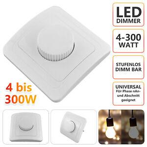 LED Dimmer Drehdimmer Schalter 230V 4-300W für dimmbare Lampen Unterputz DE