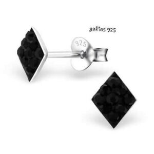 Childrens Girls 925 Sterling Silver Square black Crystal Stud Earrings - Pouch