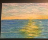 """Ocean Sunset with Clouds Original Art by Sheaffer 9x12"""" Oil Pastel"""
