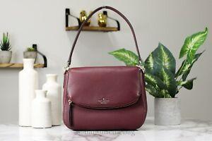 Kate Spade Jackson Medium Cherrywood Flap Leather Bag Handbag Crossbody Purse