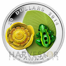 2014 CANADA SILVER WATER LILY WITH VENETIAN GLASS LEOPARD FROG - SOLD OUT