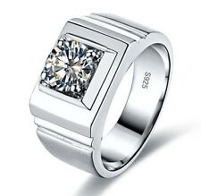 Taille 8/Q marque Men's Jewelry WHITE SAPPHIRE 925 SILVER WEDDING Hi-Q Ring Band