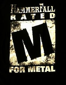 HAMMERFALL cd lgo RATED M FOR METAL Official SHIRT LARGE new