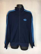 Adidas Funnel Neck Zip Up Track Jacket, Blue, Oversized Trefoil 3 Stripe, M, VGC