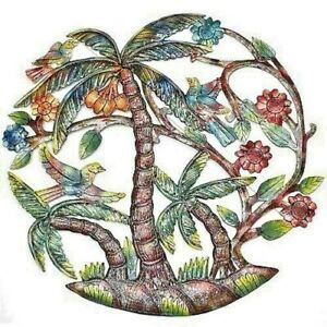"""Wall Decor  Palm Tree Birds Global  24"""" Hand Made Painted Ships Fast"""