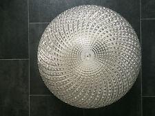 70er Design Leuchte Spiral Relief Ice Glass Brass Lamp Heavy Murano Flush Mount