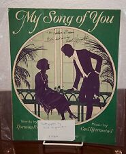 1924 HJERMSTAD MY SONG OF YOU VINTAGE SHEET MUSIC AUTOGRAPHED BY COMPOSER