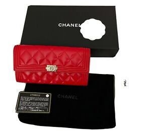 NEW AND AUTHENTIC CHANEL BOY WALLET RED LIPSTICK SILVER HARDWARE