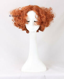 Alice Mad Hatter Party Hair wigs Short Curly Orange Wig Men Movie Cosplay Wig