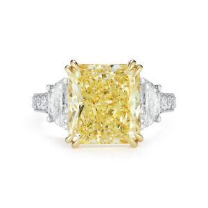 2.30 Ct Radiant Cut Fancy Yellow Half Moon 3-Diamond Engagement Ring VS2 GIA 18K