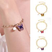 2020 Boho Fashion Women Charm Gold Butterfly Pearl Plain Bracelet Bangle Jewelry