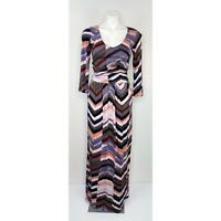 MAEVE Anthropologie Womens Small MultiColor Print Lined V Neck Jersey Maxi Dress