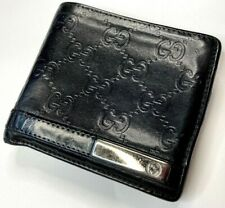 GUCCI VINTAGE GUCCISSIMA GG PLATE LEATHER WALLET MEN BIFOLD PURSE BLACK ITALY