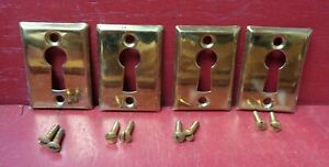 4 MORE AVAIL NOS ANTIQUE - VINTAGE 1920'S BRASS KEYHOLE COVERS WITH SCREWS