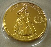2010 JUBILEE MONARCH HER MAJESTY QUEEN ELIZABETH II GOLD PLATED ONE CROWN COIN