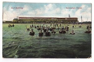 Texas postcard Galveston Surf Bathing ca 1909 embossed