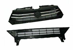 For Suzuki Celerio Front Upper And Lower Radiator Grille Panel Set Black